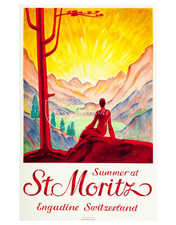 Vintage Swiss Travel Poster : SUMMER AT ST. MORITZ