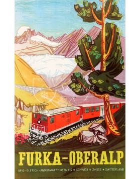 Vintage Swiss Travel Poster : FURKA - OBERALP
