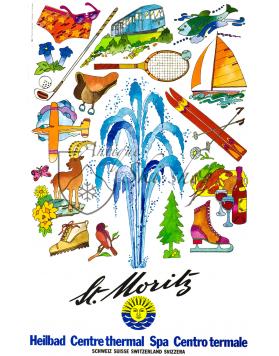 Vintage Swiss Travel Poster : ST. MORITZ - SPA