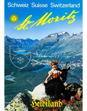 Vintage Swiss Ski Poster :  ST. MORITZ - HEIDILAND