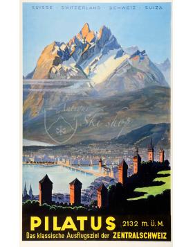 Vintage Swiss Travel Poster : PILATUS - ZENTRALSCHWEIZ