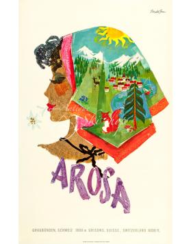 Vintage Swiss Resort Poster : AROSA - KERCHIEF SUMMER SCENES
