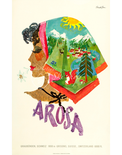 Vintage Swiss Resort Poster : AROSA - KERCHIEF SUMMER SCENES