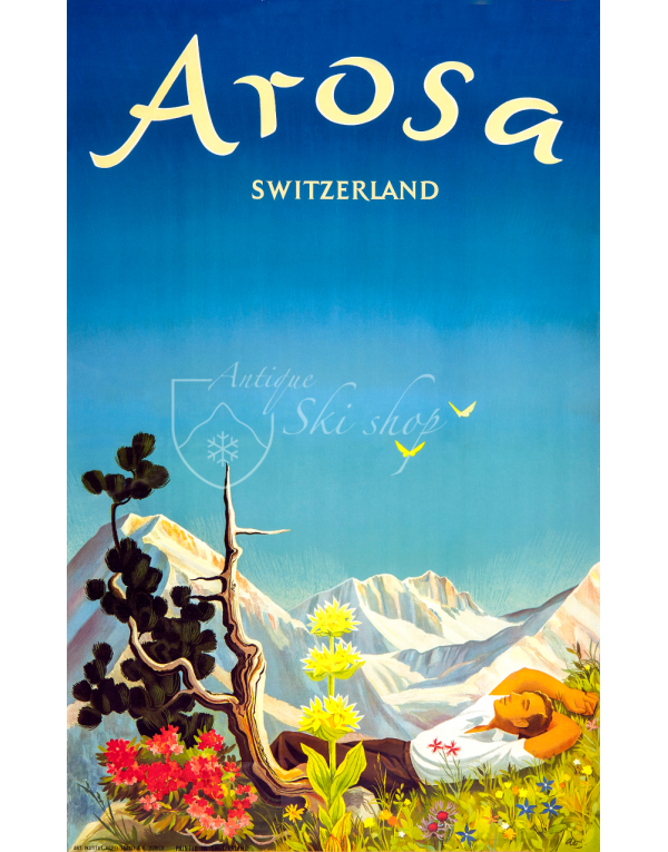 Vintage Swiss Ski Resort Poster : AROSA - SUMMER