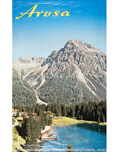 Vintage Swiss Ski Resort Poster : AROSA - LAKE