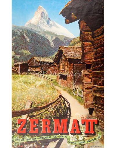 Vintage Swiss Ski Resort Poster : ZERMATT MATTERHORN (SUMMER Nr. 2)