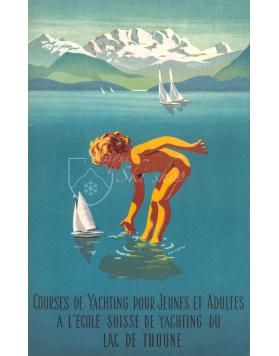 Vintage Swiss Travel Poster : LAC DE THOUNE