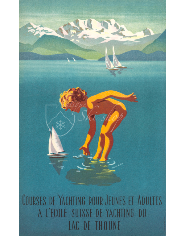 Vintage Swiss Travel Poster : LAC DE THOUNE