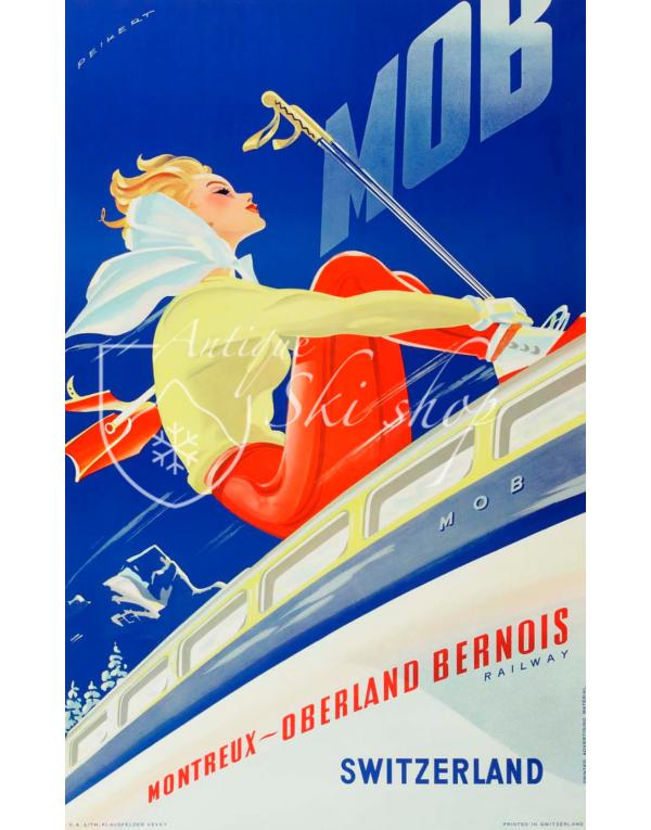 Vintage Swiss Ski Poster : MONTREUX-OBERLAND BERNOIS (MOB) Nr. 2