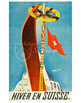 Vintage Swiss Ski Poster : HIVER SUISSE (Print Available)