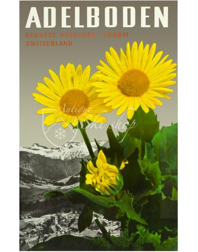 Vintage Swiss Ski Resort Poster : ADELBODEN (FLOWERS)