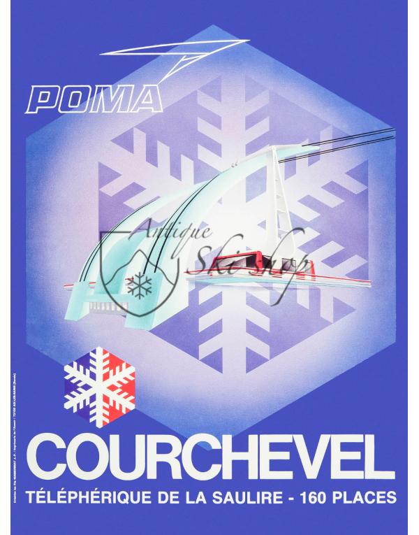 Vintage French Ski Resort Poster : COURCHEVEL - LA SAULIRE