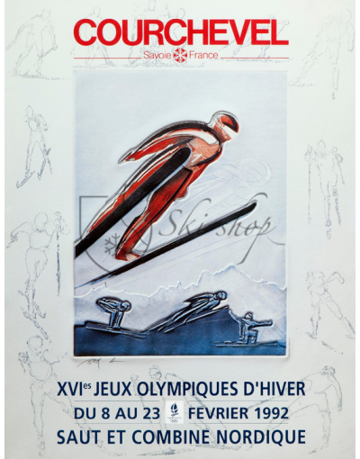 Vintage French Ski Resort Poster : COURCHEVEL - 16th WINTER OLYMPIC GAMES