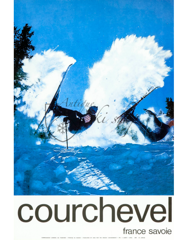 Vintage French Ski Resort Poster : COURCHEVEL -POWDER SPRAY