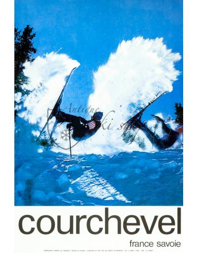 Vintage French Ski Resort Poster : COURCHEVEL -POWDER SPRAY
