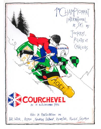 Vintage French Ski Resort Poster : COURCHEVEL - 1984 MOET SKI RACES