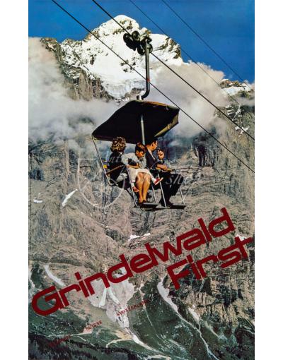 Vintage Swiss Ski Poster : GRINDELWALD (Chairlift)