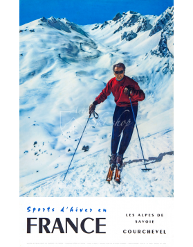 Vintage French Ski Resort Poster - COURCHEVEL: Les Alpes de Savoie