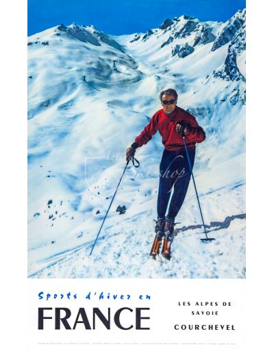 Vintage French Ski Resort Poster - COURCHEVEL: Les Alpes de Savoie