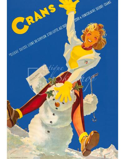 Vintage Swiss Ski Poster : CRANS