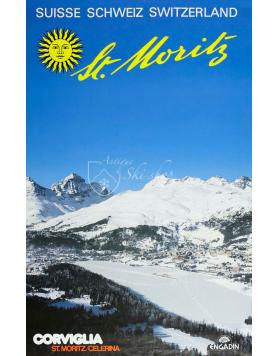 Vintage Swiss Ski Poster : ST. MORITZ - CORVIGLIA