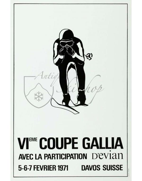 Vintage Swiss Ski Poster : DAVOS -VI COUPE GALLIA 1971