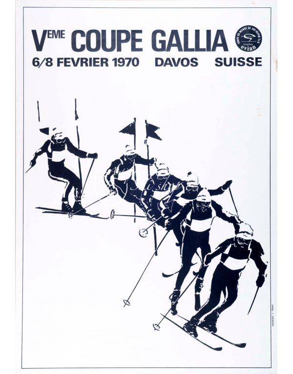 Vintage Swiss Ski Poster : DAVOS - F.I.S. SKI WORLD CUP