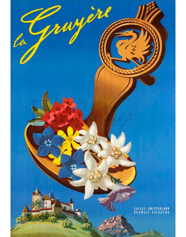 Vintage Swiss Travel Poster : LA GRUYERE