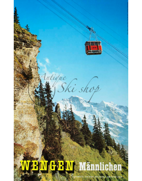 Vintage Swiss Ski Poster : WENGEN - MANNLICHEN