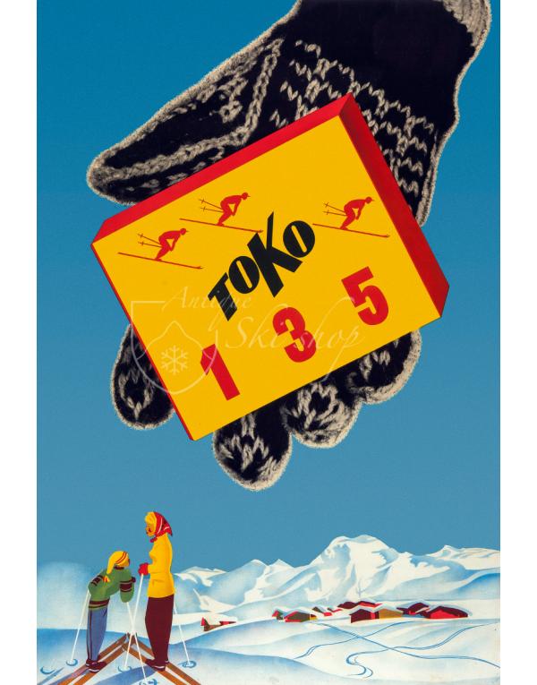 Vintage Swiss Ski Poster : TOKO SKI WAX