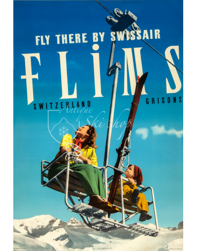 Vintage Swiss Ski Poster : FLIMS - FLY THERE BY SWISSAIR