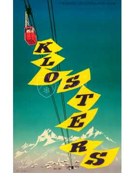Vintage Swiss Ski Poster : KLOSTERS (CABLE CAR)