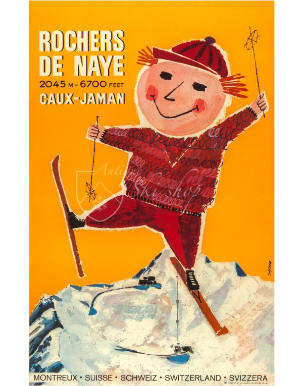 Vintage Swiss Ski Poster : ROCHERS DE NAYE - CAUX - JAMAN