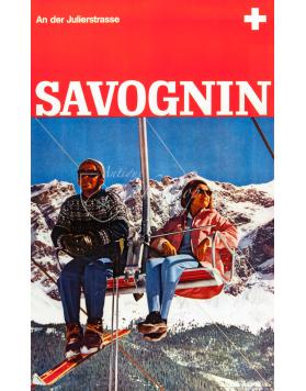 Vintage Swiss Ski Poster : SAVOGNIN (Chairlift)