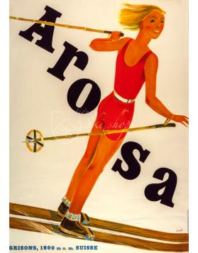 Vintage Swiss Ski Poster : AROSA (Grisons)