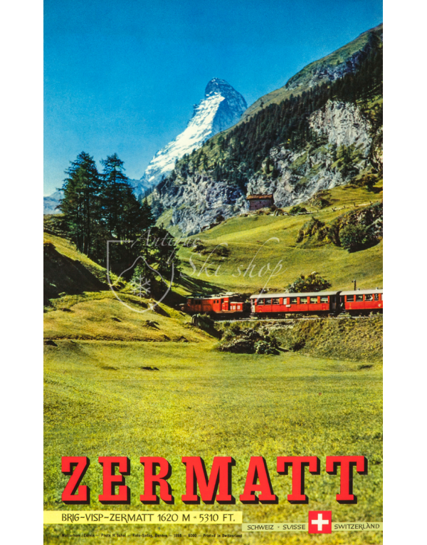 Vintage Swiss Ski Resort Poster : ZERMATT (Summer)