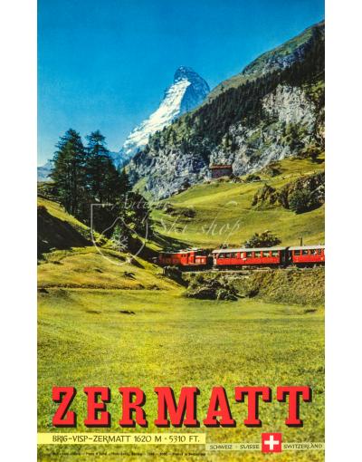 Vintage Swiss Ski Resort Poster : ZERMATT (Summer)