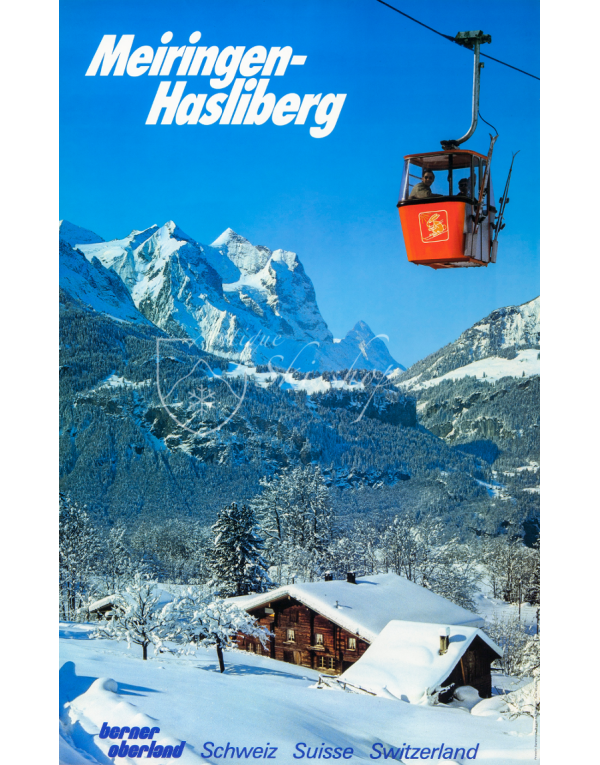 Vintage Swiss Ski Poster : MEIRINGEN-HASLIBERG