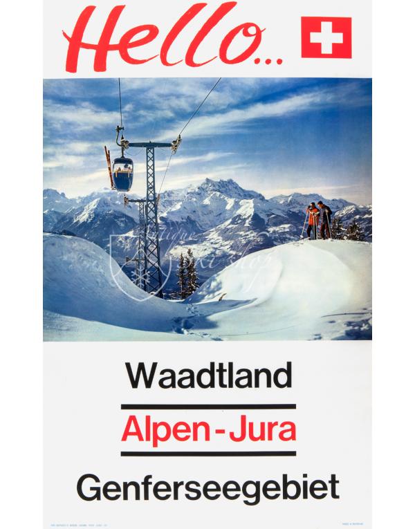 Vintage Swiss Ski Poster : HELLO... (Waadt/Vaud)
