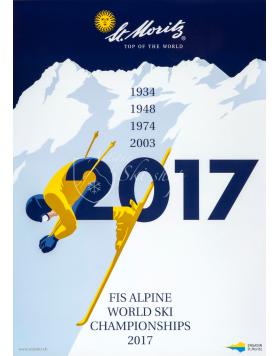Vintage Swiss Ski Poster :  ST. MORITZ 2017 FIS WORLD CHAMPIONSHIPS