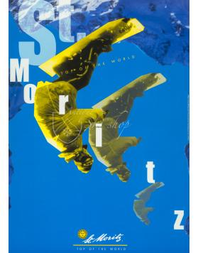 Vintage Swiss Ski Poster :  ST. MORITZ: SNOWBOARD