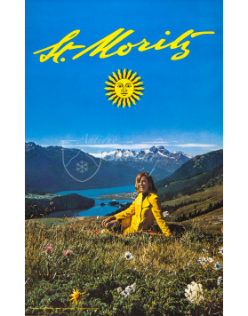 Vintage Swiss Travel Poster : ST. MORITZ (Summer)