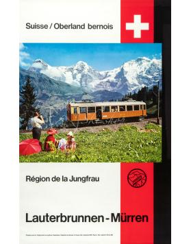 Vintage Swiss Travel Poster : JUNGFRAU - LAUTERBRUNNEN-MURREN