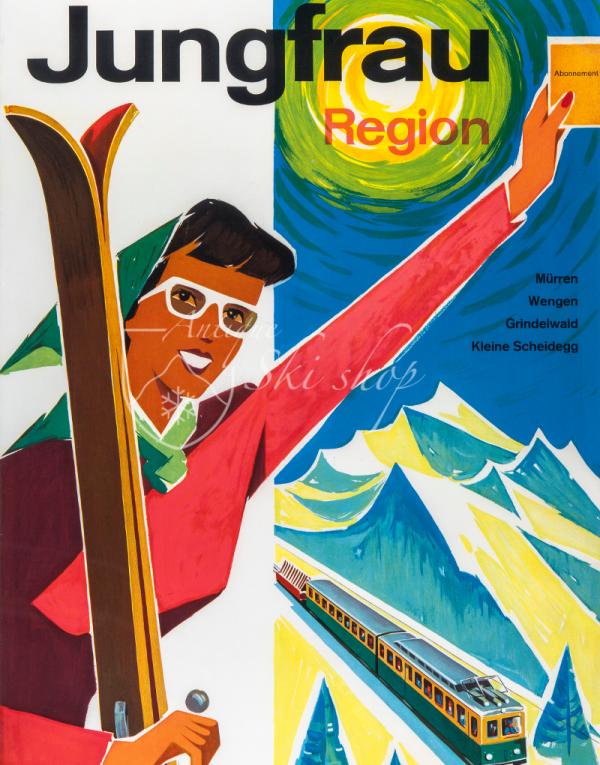 Vintage Swiss Ski Poster : JUNGFRAU - REGION