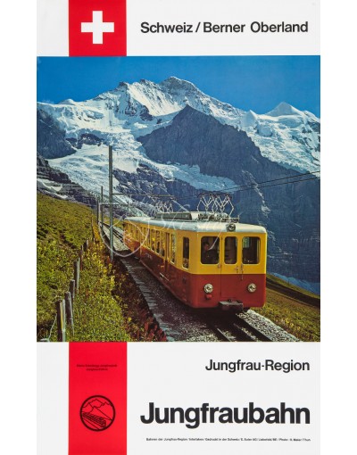 Vintage Swiss Travel Poster : JUNGFRAUBAHN