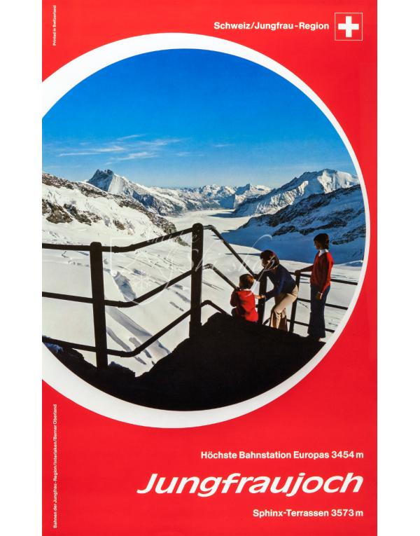 Vintage Swiss Travel Poster : JUNGFRAUJOCH