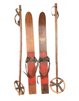 Antique Children's Skis & Poles (Unrestored)