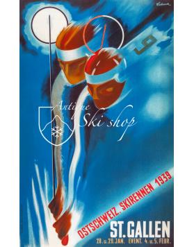 Vintage Swiss Ski Poster : Ostschweiz Verbands Skirennen St Gallen 1939