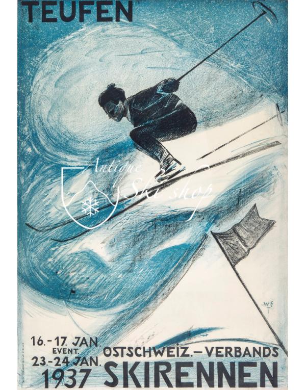 Vintage Swiss Ski Poster : Ostschweiz Verbands Skirennen Teufen 1937