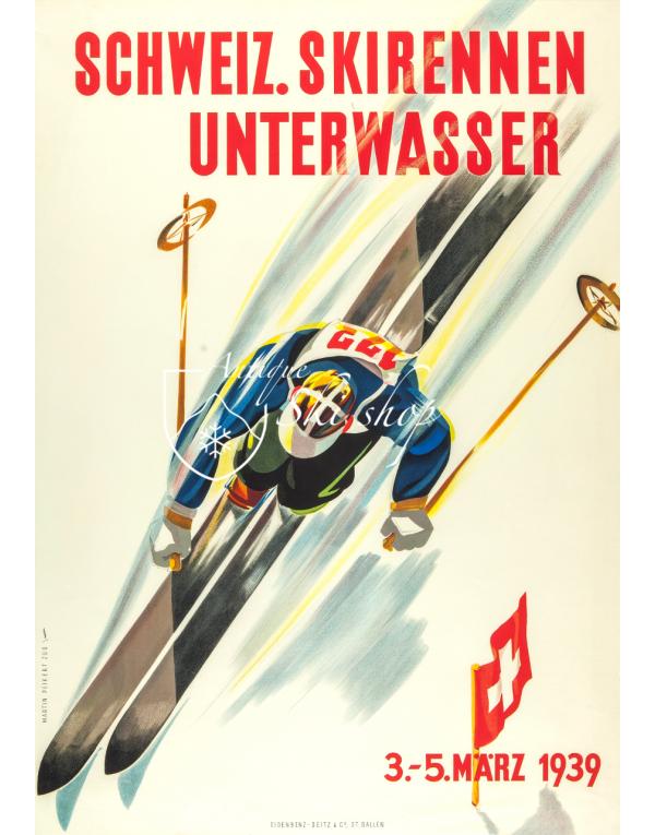 Vintage Swiss Ski Poster : Schweiz Skirennen: Unterwasser 1939